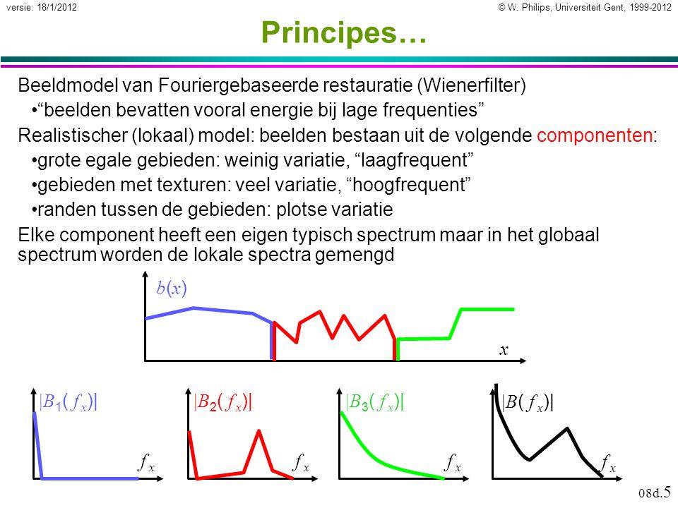 """© W. Philips, Universiteit Gent, 1999-2012versie: 18/1/2012 08d. 5 Principes… Beeldmodel van Fouriergebaseerde restauratie (Wienerfilter) """"beelden bev"""