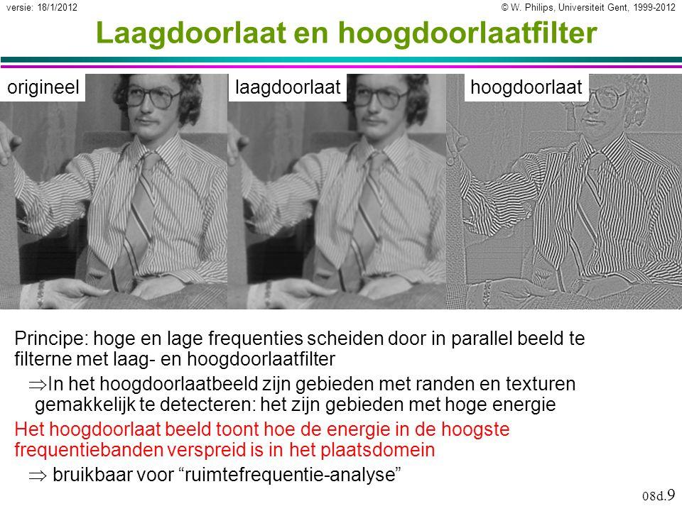 © W. Philips, Universiteit Gent, 1999-2012versie: 18/1/2012 08d. 9 Laagdoorlaat en hoogdoorlaatfilter origineellaagdoorlaathoogdoorlaat Principe: hoge