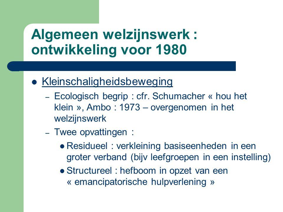 Algemeen welzijnswerk : ontwikkeling voor 1980 Kleinschaligheidsbeweging – Ecologisch begrip : cfr. Schumacher « hou het klein », Ambo : 1973 – overge