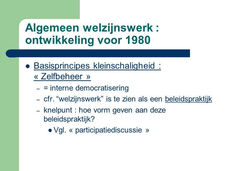 """Algemeen welzijnswerk : ontwikkeling voor 1980 Basisprincipes kleinschaligheid : « Zelfbeheer » – = interne democratisering – cfr. """"welzijnswerk"""" is t"""