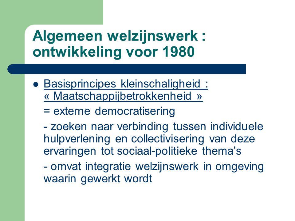 Algemeen welzijnswerk : ontwikkeling voor 1980 Basisprincipes kleinschaligheid : « Maatschappijbetrokkenheid » = externe democratisering - zoeken naar