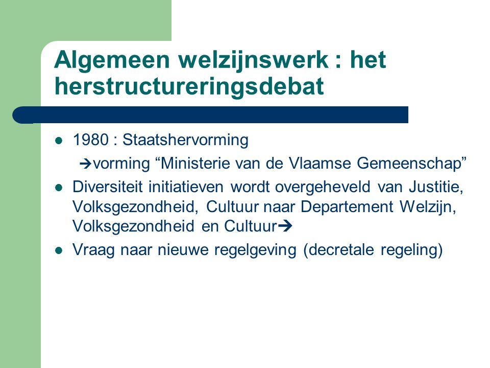 """Algemeen welzijnswerk : het herstructureringsdebat 1980 : Staatshervorming  vorming """"Ministerie van de Vlaamse Gemeenschap"""" Diversiteit initiatieven"""