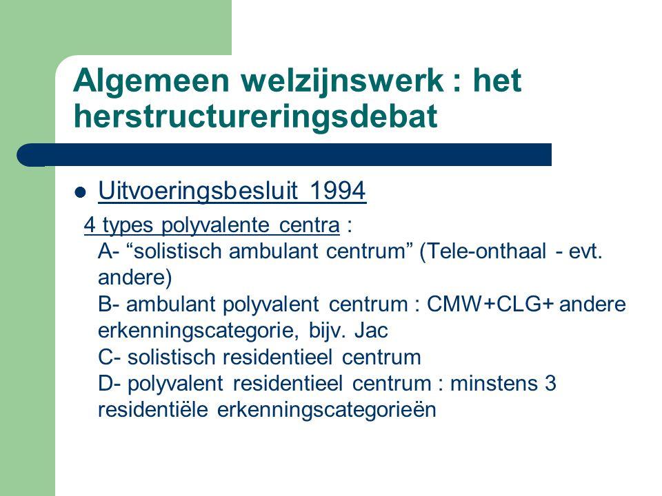 """Algemeen welzijnswerk : het herstructureringsdebat Uitvoeringsbesluit 1994 4 types polyvalente centra : A- """"solistisch ambulant centrum"""" (Tele-onthaal"""