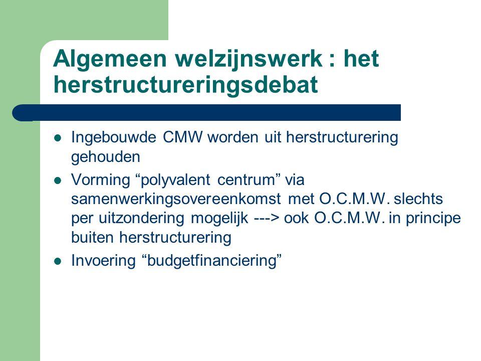 """Algemeen welzijnswerk : het herstructureringsdebat Ingebouwde CMW worden uit herstructurering gehouden Vorming """"polyvalent centrum"""" via samenwerkingso"""