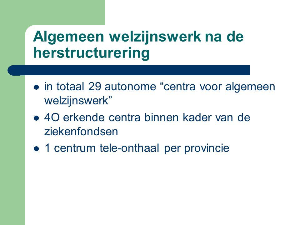 """Algemeen welzijnswerk na de herstructurering in totaal 29 autonome """"centra voor algemeen welzijnswerk"""" 4O erkende centra binnen kader van de ziekenfon"""