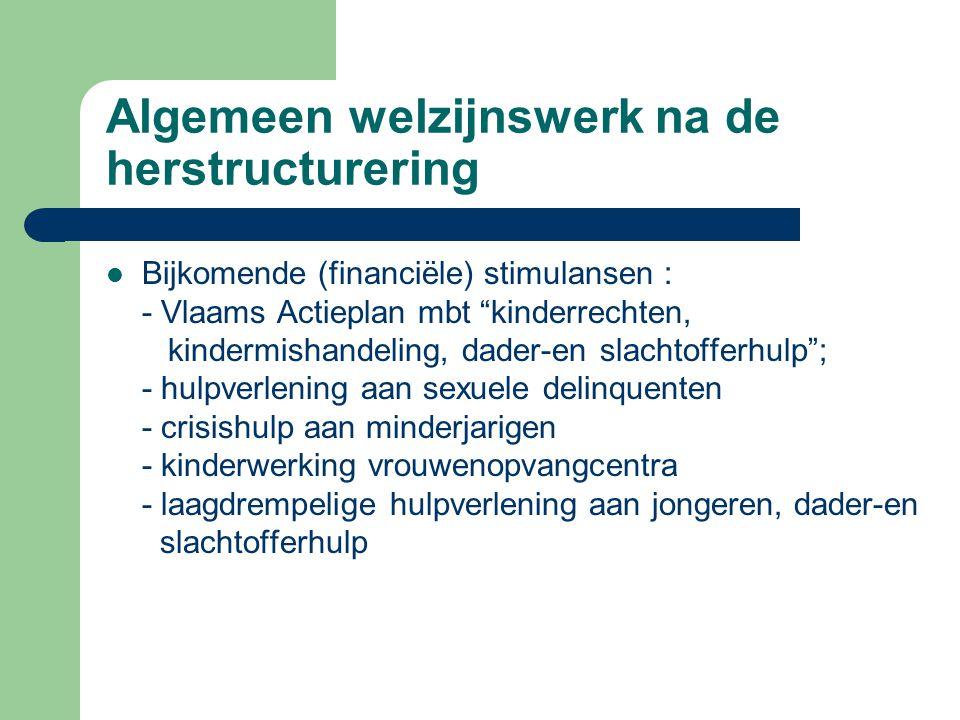 """Algemeen welzijnswerk na de herstructurering Bijkomende (financiële) stimulansen : - Vlaams Actieplan mbt """"kinderrechten, kindermishandeling, dader-en"""