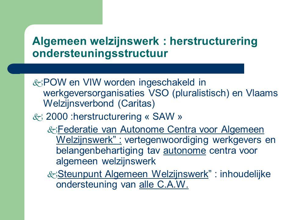 Algemeen welzijnswerk : herstructurering ondersteuningsstructuur k POW en VIW worden ingeschakeld in werkgeversorganisaties VSO (pluralistisch) en Vla