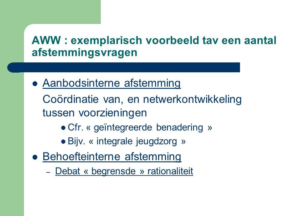 AWW : exemplarisch voorbeeld tav een aantal afstemmingsvragen Aanbodsinterne afstemming Coördinatie van, en netwerkontwikkeling tussen voorzieningen C