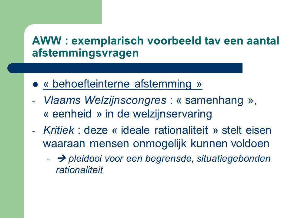 AWW : exemplarisch voorbeeld tav een aantal afstemmingsvragen « behoefteinterne afstemming » - Vlaams Welzijnscongres : « samenhang », « eenheid » in