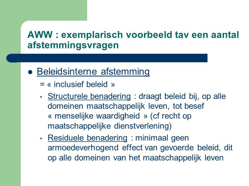 AWW : exemplarisch voorbeeld tav een aantal afstemmingsvragen Beleidsinterne afstemming = « inclusief beleid » Structurele benadering : draagt beleid