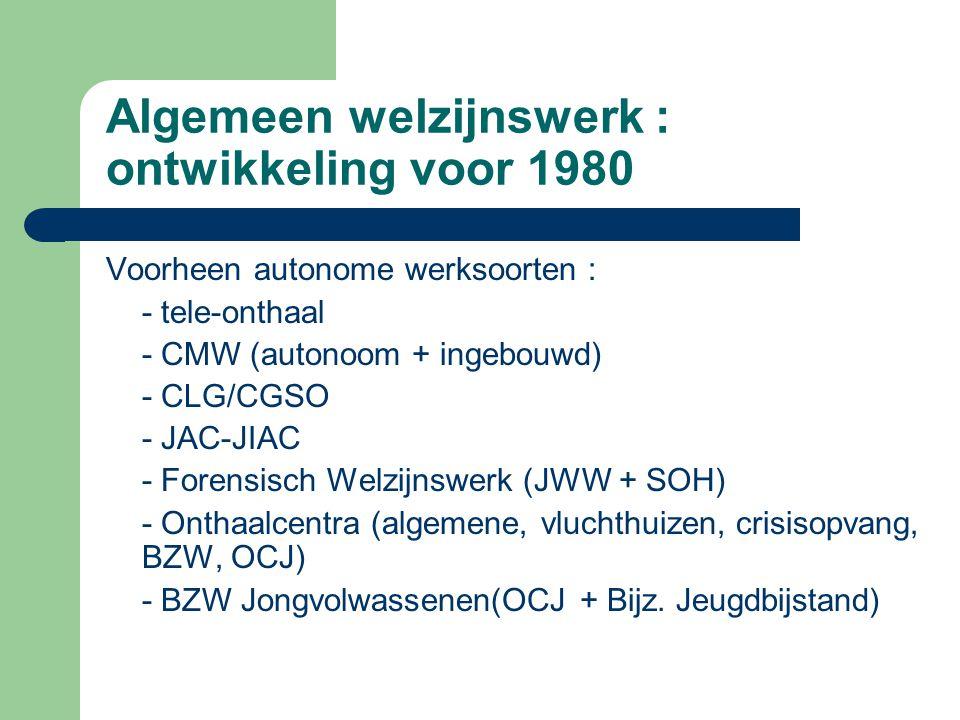 Algemeen welzijnswerk : ontwikkeling voor 1980 Voorheen autonome werksoorten : - tele-onthaal - CMW (autonoom + ingebouwd) - CLG/CGSO - JAC-JIAC - For