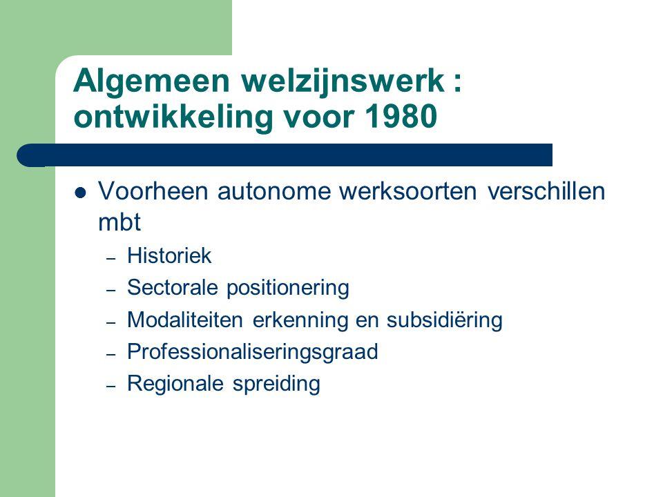 Algemeen welzijnswerk : ontwikkeling voor 1980 Voorheen autonome werksoorten verschillen mbt – Historiek – Sectorale positionering – Modaliteiten erke