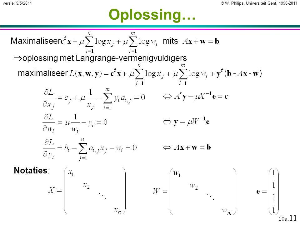 © W. Philips, Universiteit Gent, 1998-2011versie: 9/5/2011 10a. 11 Oplossing…  oplossing met Langrange-vermenigvuldigers maximaliseer Notaties: Maxim