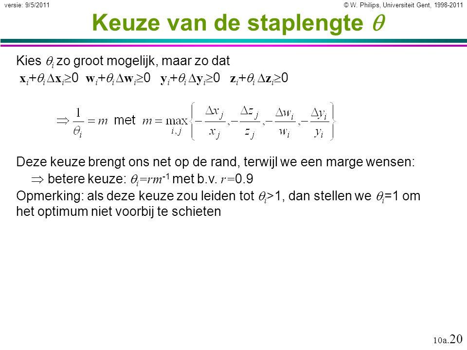 © W. Philips, Universiteit Gent, 1998-2011versie: 9/5/2011 10a.