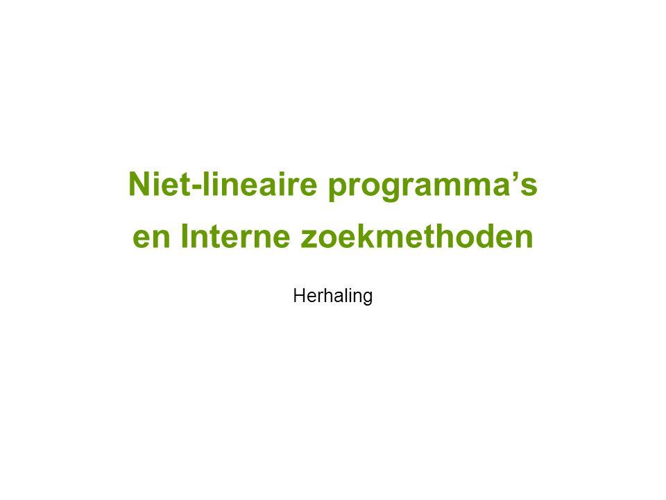 Niet-lineaire programma's en Interne zoekmethoden Herhaling