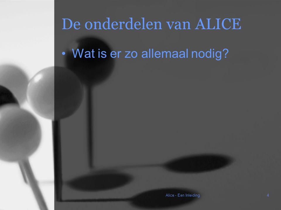 Alice - Een Inleiding4 De onderdelen van ALICE Wat is er zo allemaal nodig?