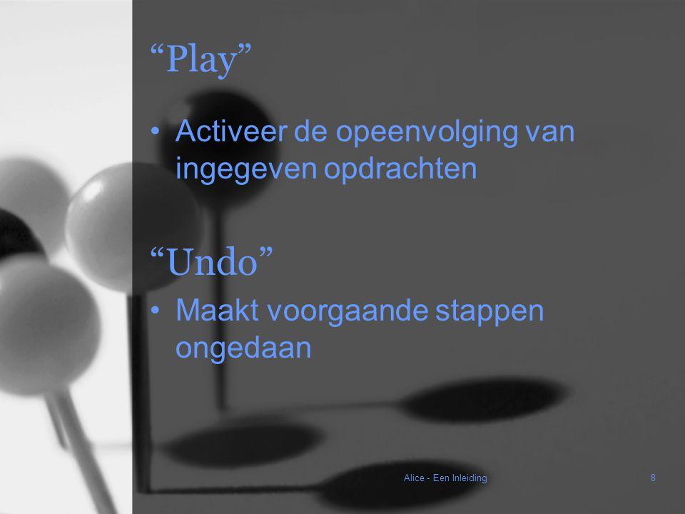 Alice - Een Inleiding8 Play Activeer de opeenvolging van ingegeven opdrachten Undo Maakt voorgaande stappen ongedaan