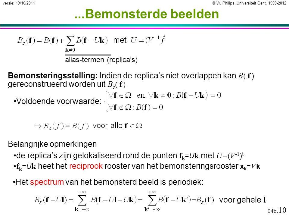© W. Philips, Universiteit Gent, 1999-2012versie: 19/10/2011 04b. 10...Bemonsterde beelden alias-termen (replica's) Bemonsteringsstelling: Indien de r