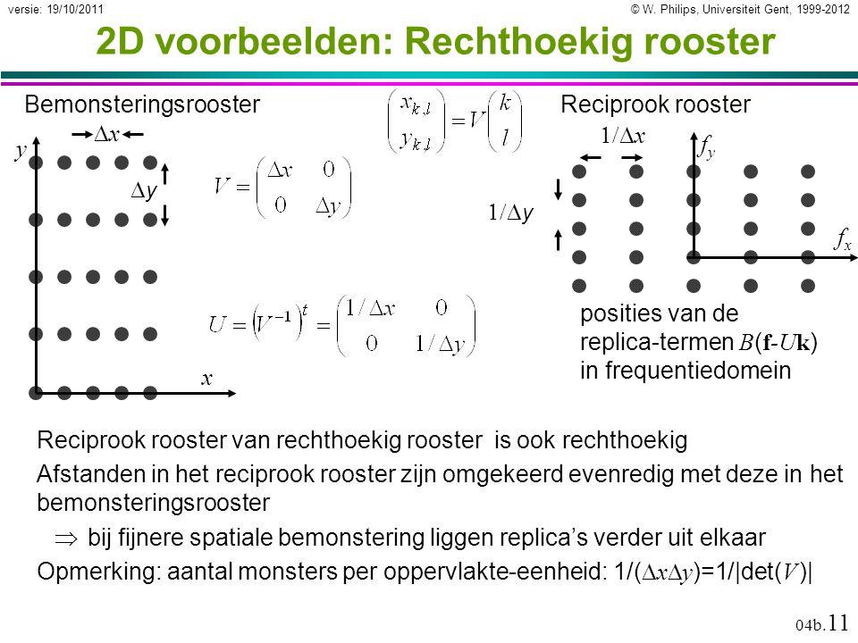 © W. Philips, Universiteit Gent, 1999-2012versie: 19/10/2011 04b. 11 2D voorbeelden: Rechthoekig rooster xx yy Bemonsteringsrooster Reciprook roos