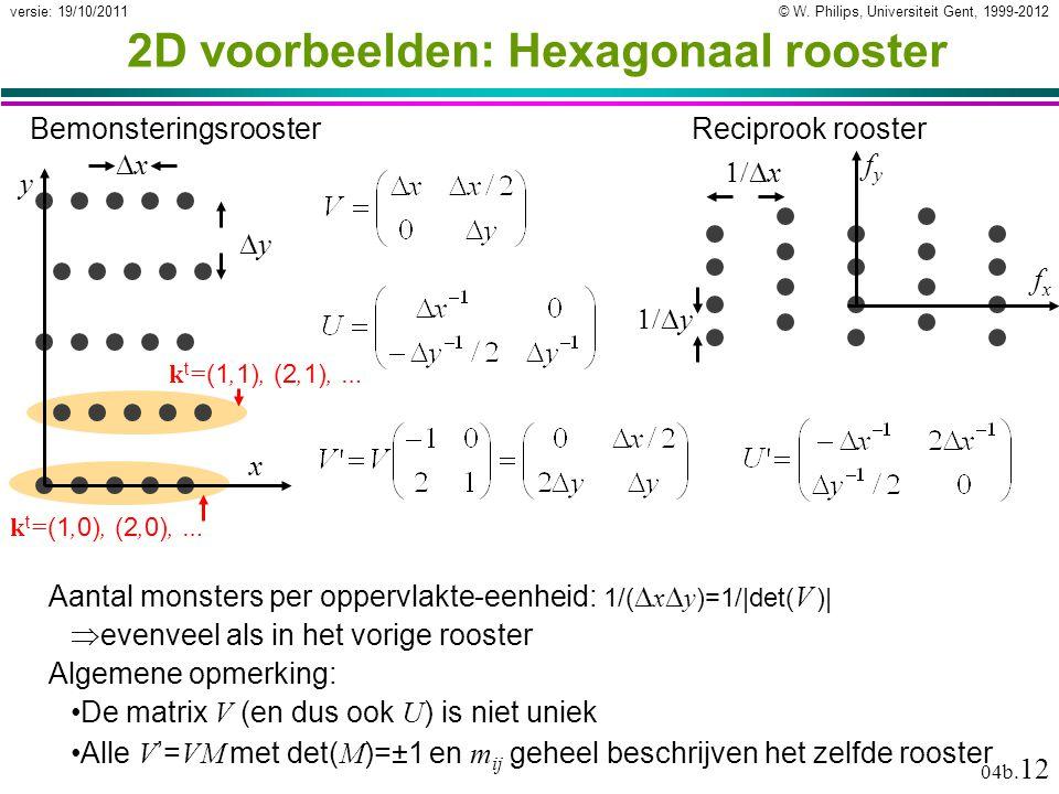 © W. Philips, Universiteit Gent, 1999-2012versie: 19/10/2011 04b. 12 k t = (1, 0), (2, 0), … k t = (1, 1), (2, 1), … 2D voorbeelden: Hexagonaal rooste