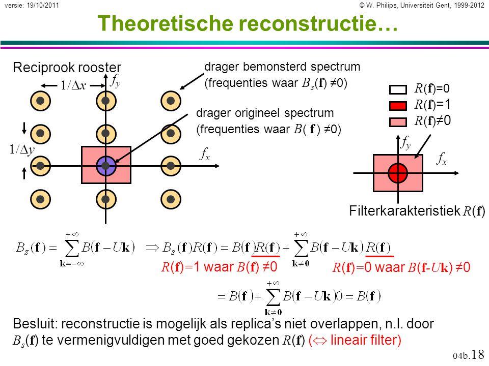 © W. Philips, Universiteit Gent, 1999-2012versie: 19/10/2011 04b. 18 Theoretische reconstructie… Besluit: reconstructie is mogelijk als replica's niet