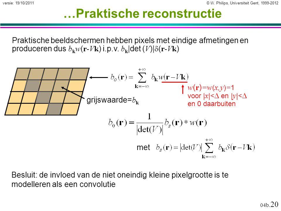 © W. Philips, Universiteit Gent, 1999-2012versie: 19/10/2011 04b. 20 …Praktische reconstructie w ( r ) =w ( x,y ) = 1 voor | x |<  en | y |<  en 0 d