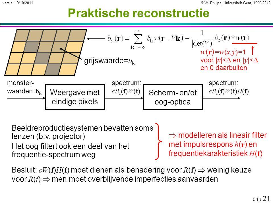 © W. Philips, Universiteit Gent, 1999-2012versie: 19/10/2011 04b. 21  modelleren als lineair filter met impulsrespons h ( r ) en frequentiekarakteris