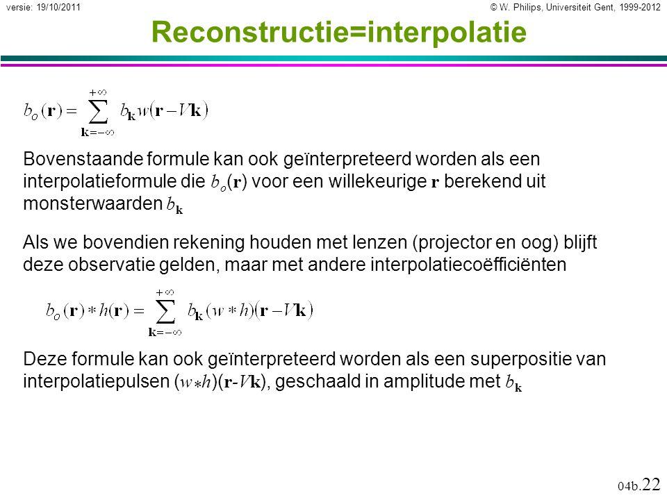 © W. Philips, Universiteit Gent, 1999-2012versie: 19/10/2011 04b. 22 Reconstructie=interpolatie Bovenstaande formule kan ook geïnterpreteerd worden al