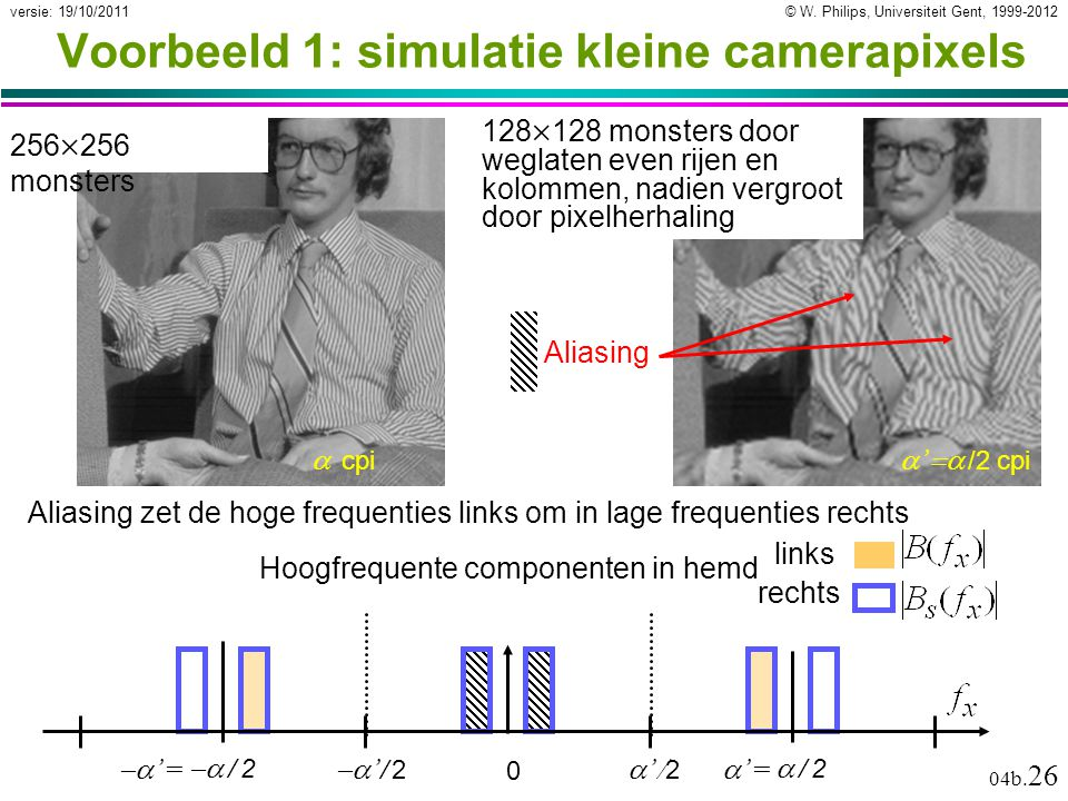 © W. Philips, Universiteit Gent, 1999-2012versie: 19/10/2011 04b. 26 Voorbeeld 1: simulatie kleine camerapixels 256  256 monsters 128  128 monsters
