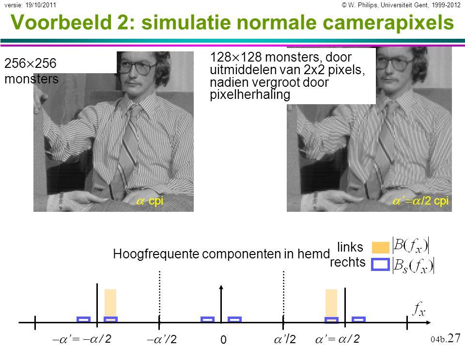 © W. Philips, Universiteit Gent, 1999-2012versie: 19/10/2011 04b. 27  '   /2 cpi Voorbeeld 2: simulatie normale camerapixels 256  256 monsters 12