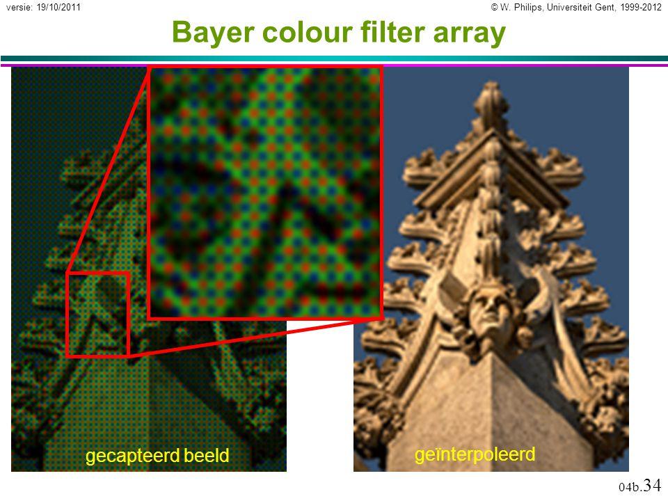 © W. Philips, Universiteit Gent, 1999-2012versie: 19/10/2011 04b. 34 Bayer colour filter array geïnterpoleerd gecapteerd beeld