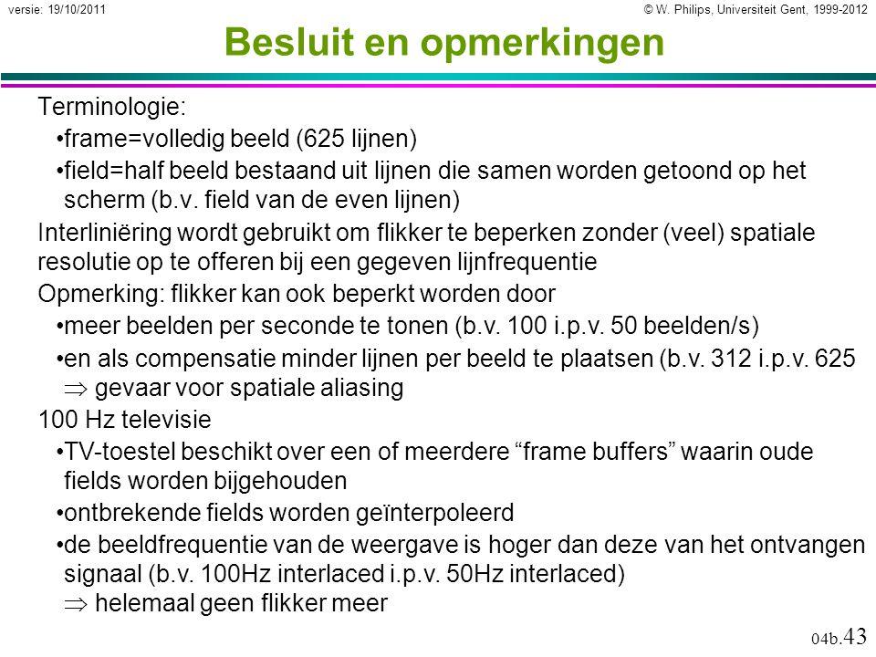 © W. Philips, Universiteit Gent, 1999-2012versie: 19/10/2011 04b. 43 Besluit en opmerkingen Terminologie: frame=volledig beeld (625 lijnen) field=half