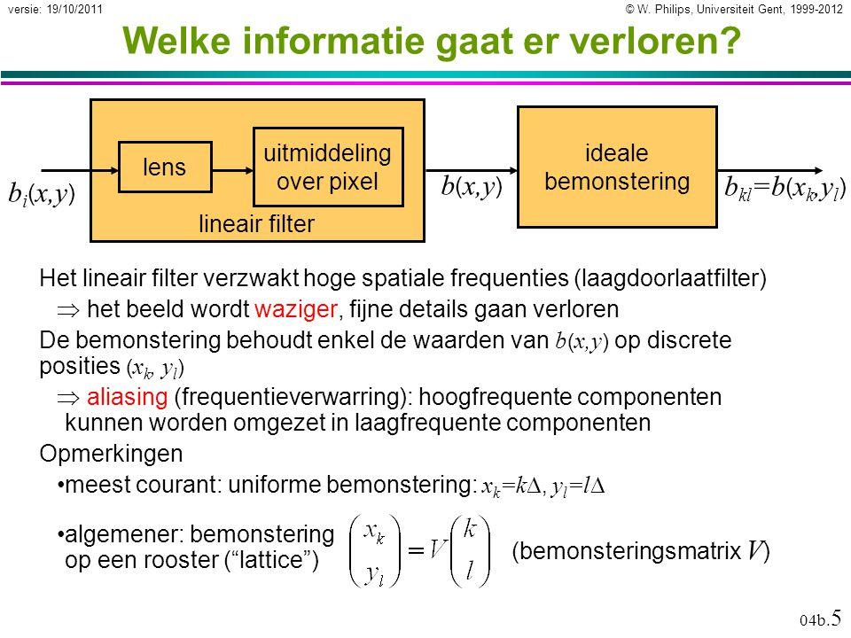 © W. Philips, Universiteit Gent, 1999-2012versie: 19/10/2011 04b. 5 b kl =b ( x k,y l ) Welke informatie gaat er verloren? Het lineair filter verzwakt