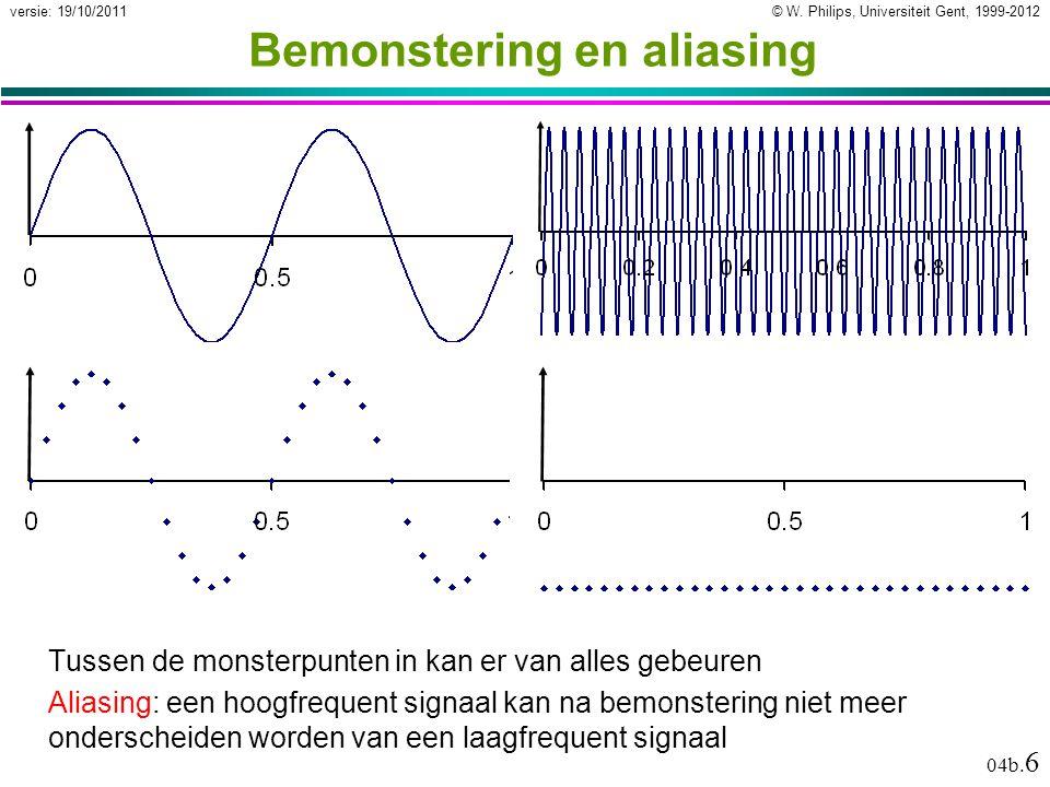 © W. Philips, Universiteit Gent, 1999-2012versie: 19/10/2011 04b. 6 Bemonstering en aliasing Tussen de monsterpunten in kan er van alles gebeuren Alia