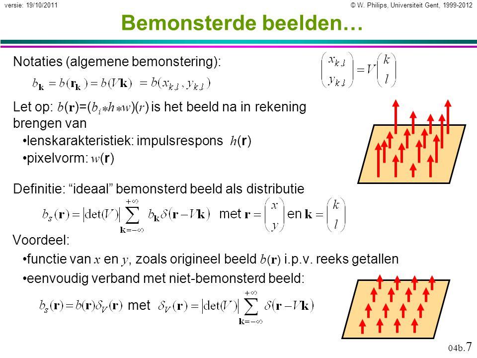 © W. Philips, Universiteit Gent, 1999-2012versie: 19/10/2011 04b. 7 Bemonsterde beelden… Voordeel: functie van x en y, zoals origineel beeld b ( r ) i