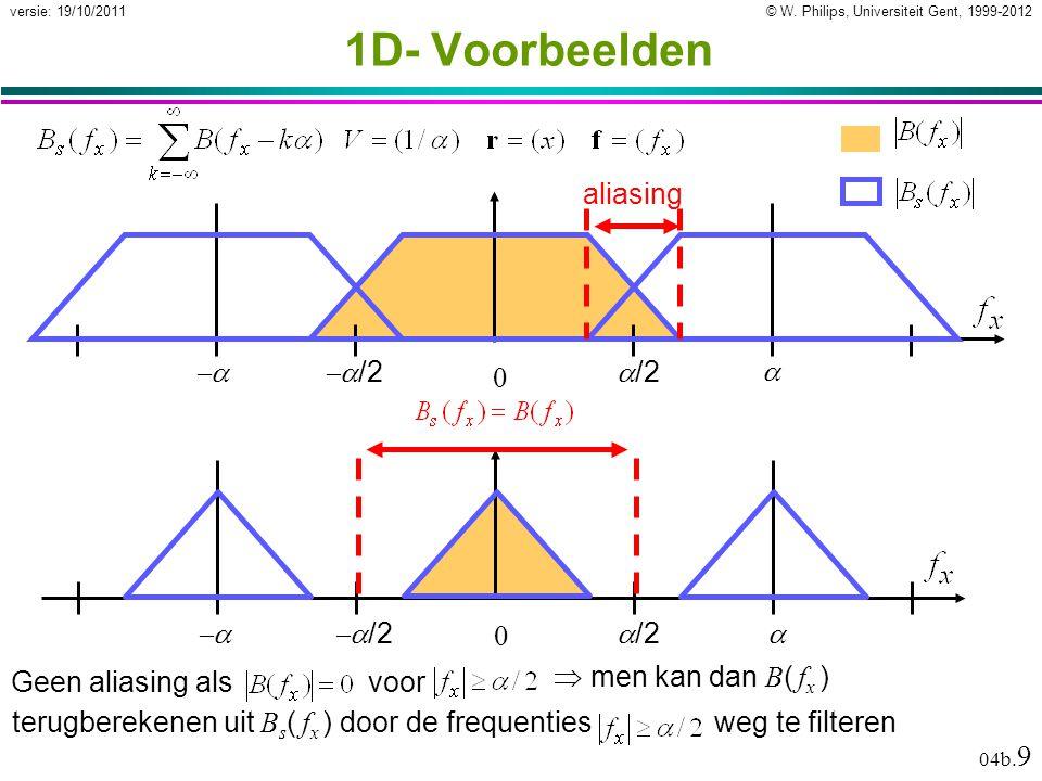 © W. Philips, Universiteit Gent, 1999-2012versie: 19/10/2011 04b. 9  men kan dan B ( f x ) terugberekenen uit B s ( f x ) door de frequenties weg te