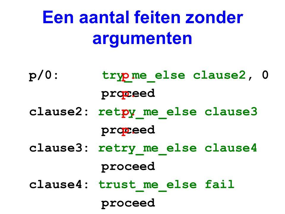 Een aantal feiten zonder argumenten p/0: try_me_else clause2, 0 proceed clause2: retry_me_else clause3 proceed clause3: retry_me_else clause4 proceed