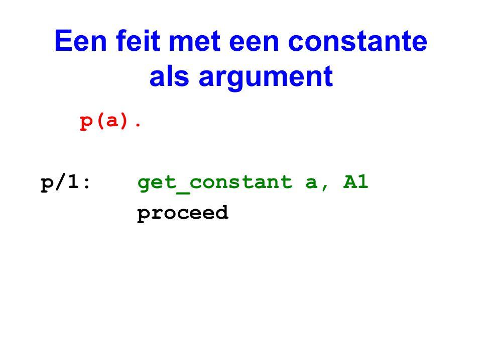 Een feit met een constante als argument p(a). p/1:get_constant a, A1 proceed