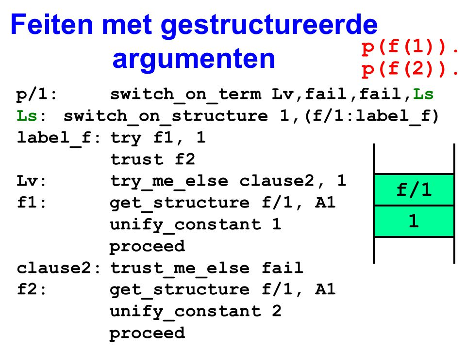 Feiten met gestructureerde argumenten p/1:switch_on_term Lv,fail,fail,Ls Ls:switch_on_structure 1,(f/1:label_f) label_f:try f1, 1 trust f2 Lv:try_me_e