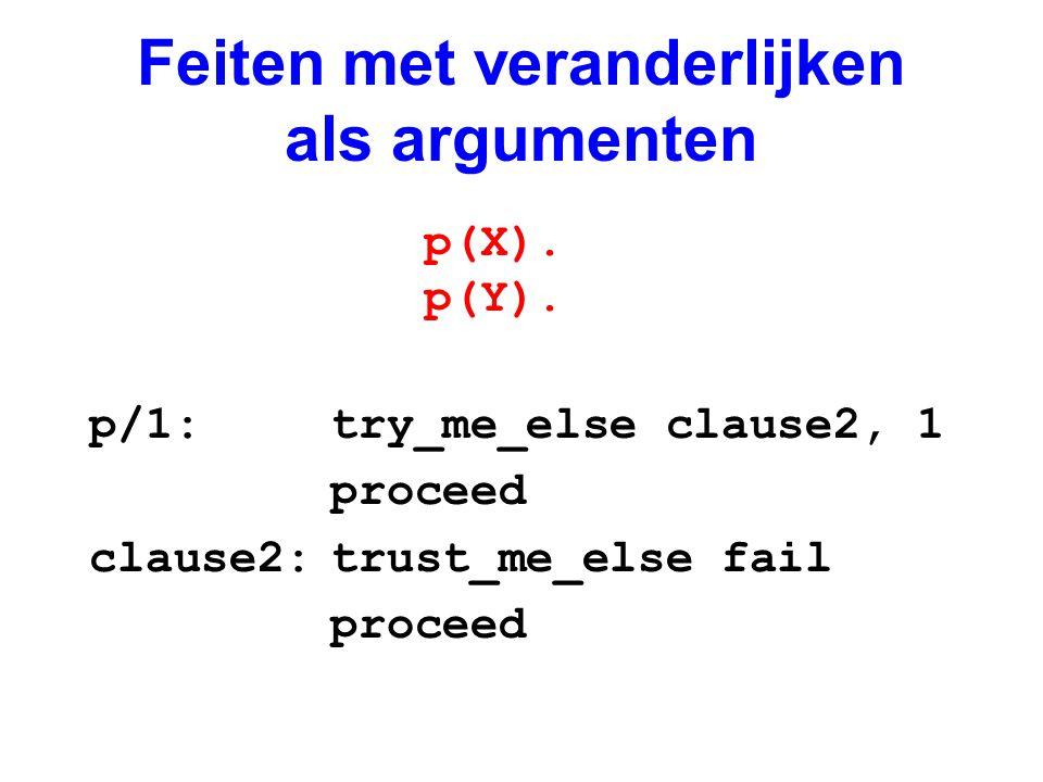 Feiten met veranderlijken als argumenten p/1:try_me_else clause2, 1 proceed clause2:trust_me_else fail proceed p(X). p(Y).
