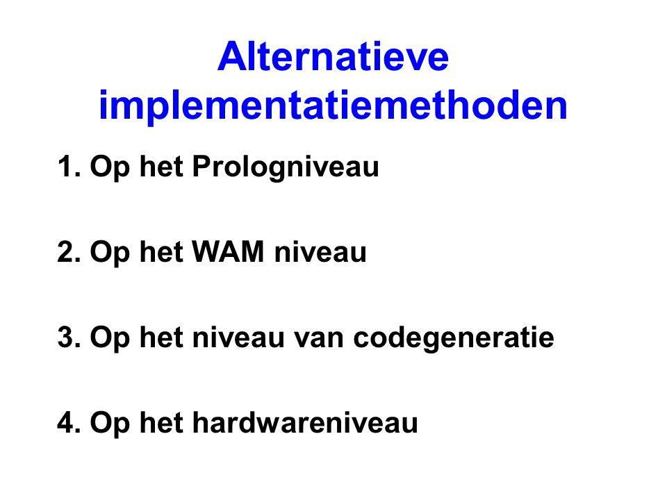 Alternatieve implementatiemethoden 1. Op het Prologniveau 2. Op het WAM niveau 3. Op het niveau van codegeneratie 4. Op het hardwareniveau