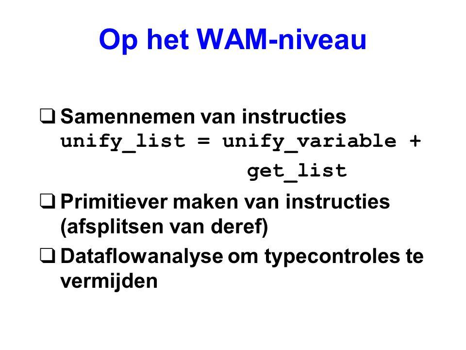Op het WAM-niveau  Samennemen van instructies unify_list = unify_variable + get_list qPrimitiever maken van instructies (afsplitsen van deref) qDataf