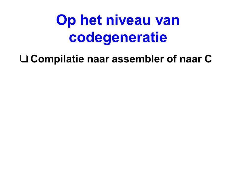 Op het niveau van codegeneratie qCompilatie naar assembler of naar C