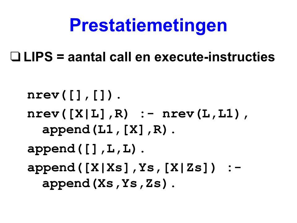 Prestatiemetingen qLIPS = aantal call en execute-instructies nrev([],[]). nrev([X|L],R) :- nrev(L,L1), append(L1,[X],R). append([],L,L). append([X|Xs]