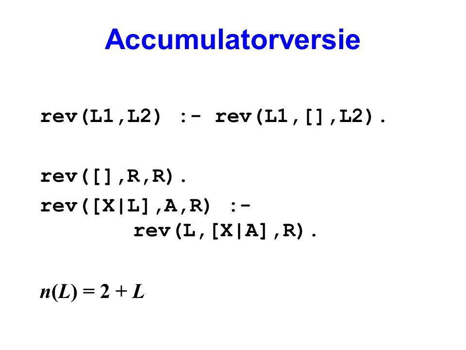 Accumulatorversie rev(L1,L2) :- rev(L1,[],L2). rev([],R,R). rev([X|L],A,R) :- rev(L,[X|A],R). n(L) = 2 + L