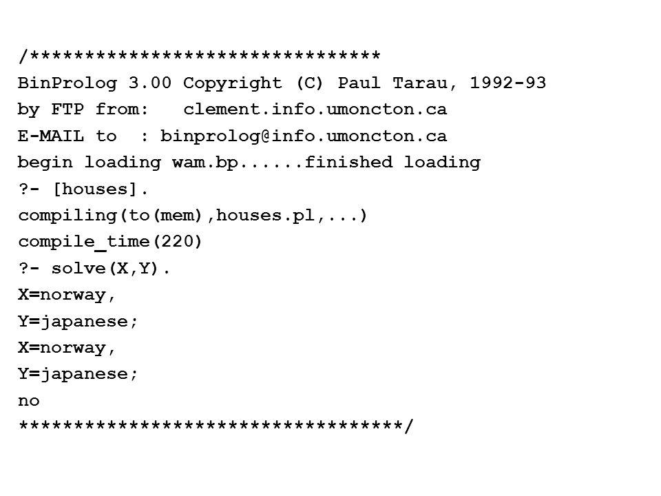 /******************************** BinProlog 3.00 Copyright (C) Paul Tarau, 1992-93 by FTP from: clement.info.umoncton.ca E-MAIL to : binprolog@info.um