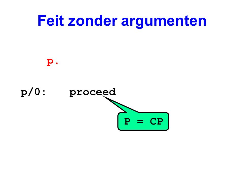 Voorbeeld p/1:get_stucture f/2, A1 unify_variable X1 /*[1,Y]*/ unify_variable X2 /*k(l)*/ get_list X1 unify_constant 1 unify_variable X1 /*[Y|[]]*/ get_list X1 unify_void 1 unify_nil get_structure k/1, X2 /*k(l)*/ unify_constant l proceed p(f([1,Y],k(l))).