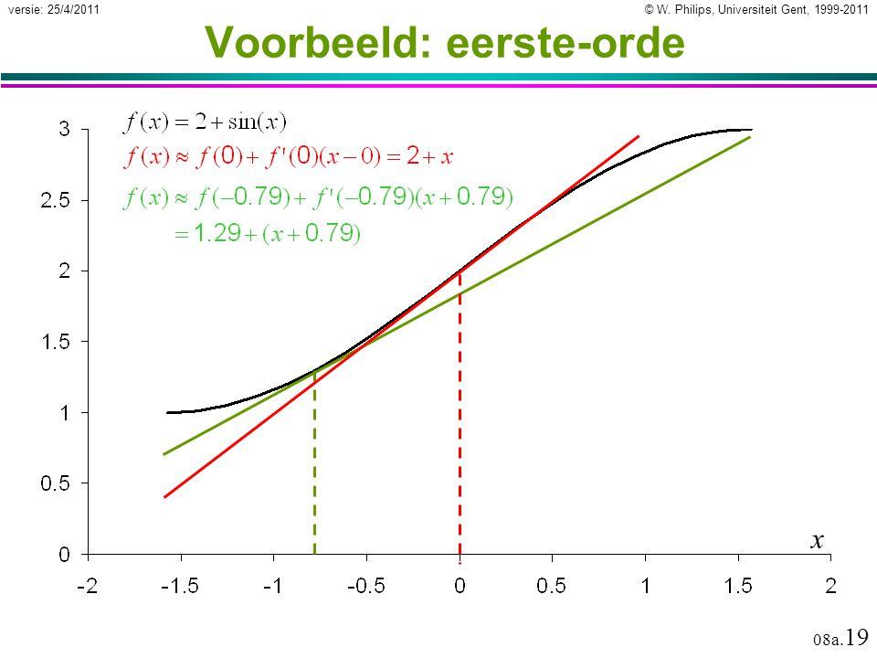 © W. Philips, Universiteit Gent, 1999-2011versie: 25/4/2011 08a. 19 Voorbeeld: eerste-orde x