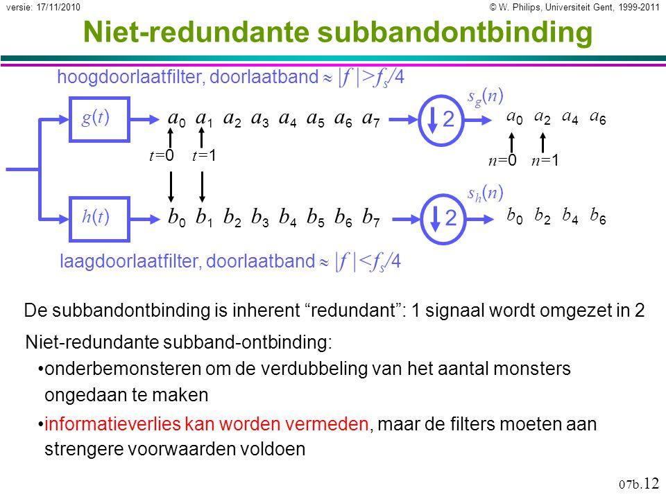 © W. Philips, Universiteit Gent, 1999-2011versie: 17/11/2010 07b. 12 Niet-redundante subbandontbinding g(t)g(t) h(t)h(t) laagdoorlaatfilter, doorlaatb