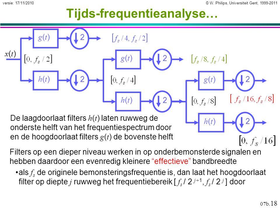 © W. Philips, Universiteit Gent, 1999-2011versie: 17/11/2010 07b. 18 Tijds-frequentieanalyse… De laagdoorlaat filters h ( t ) laten ruwweg de onderste